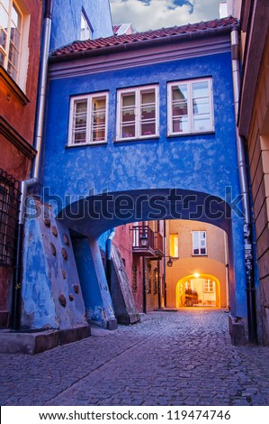 Street in the old town. Poland, Warsaw. - stock photo