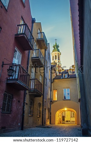 Street in the old town. Poland, Warsaw.