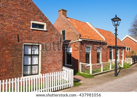 Street in the open-air museum of Enkhuizen on a sunny  spring day, The Netherlands - stock photo