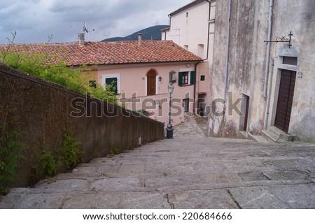 Street in the village of Poggio, Elba Island, Tuscany, Italy - stock photo