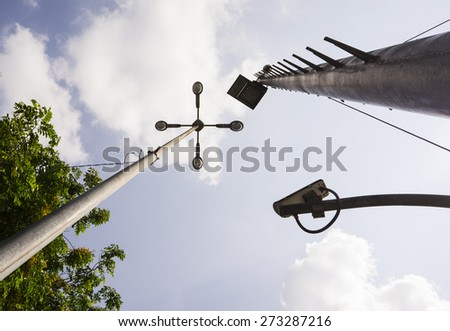 Street lamp and Cctv security camera from the ant eye's view. Horizontal orientation.