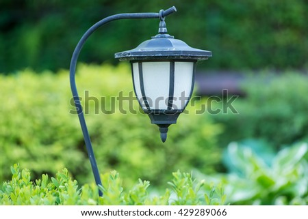 Street lamp in the green garden