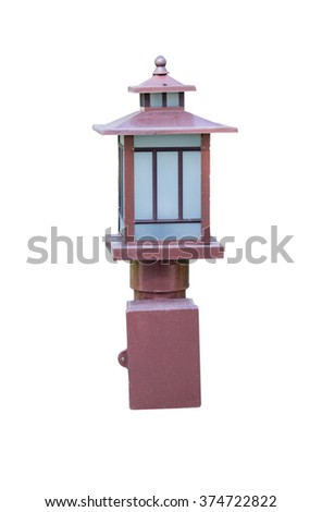 Street lamp isolated on the white background. This has clipping path - stock photo