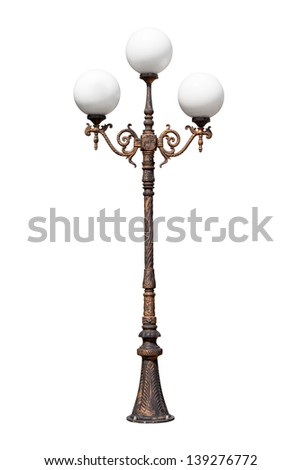 street lamp, isolated on white background - stock photo