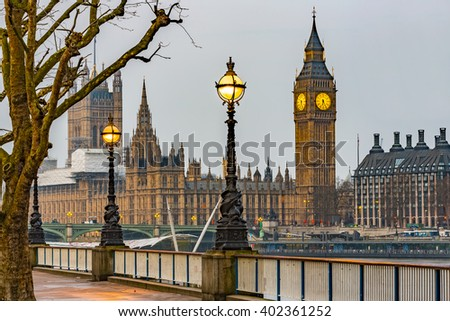 Street Lamp on South Bank of River Thames with Big Ben, Elisabeth Tower and Palace of Westminster in Background, London, England, UK - stock photo