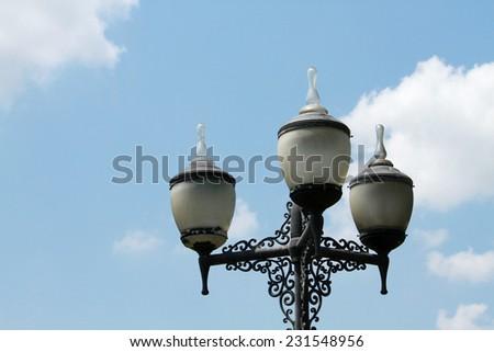 Street lamp on the sky - stock photo