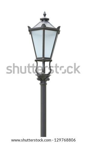 Street lamp on the white background - stock photo