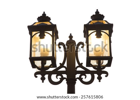 street lamp on white background - stock photo