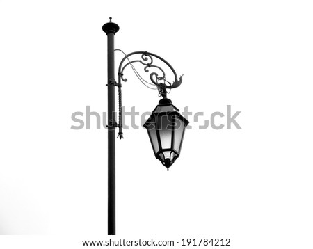 Street lamp on white background, isolated object - stock photo