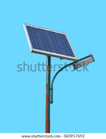 Street lamp powered by solar batteries, panel with a battery included