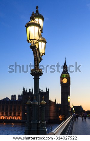 Street lamp with Big Ben in Westminster, London - stock photo