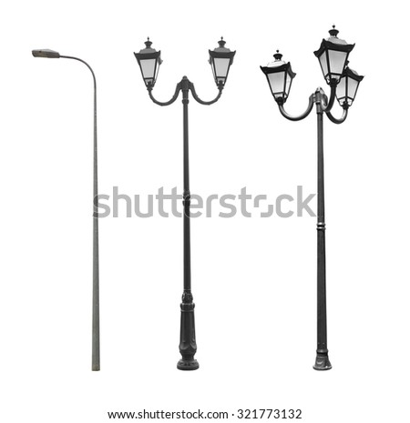 Street lamppost isolated on a white background