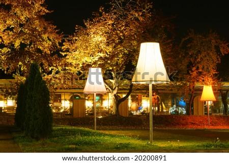 Street lamps illuminating garden - stock photo