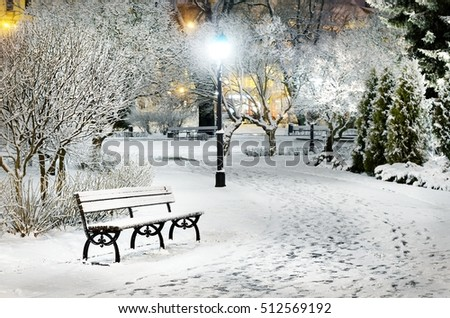 Street light and a bench. Snow on trees in Riga old town park by night
