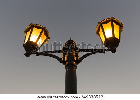 Street Light at Sunset - stock photo