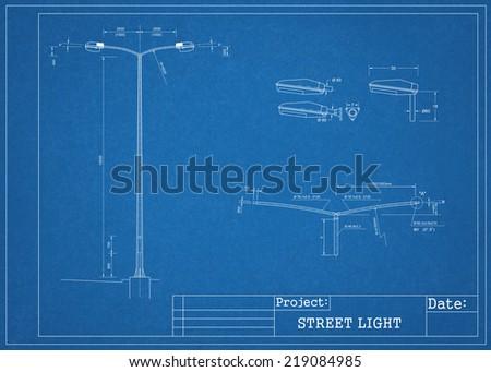 Street light blueprint ilustracin de stock219084985 shutterstock street light blueprint malvernweather Image collections