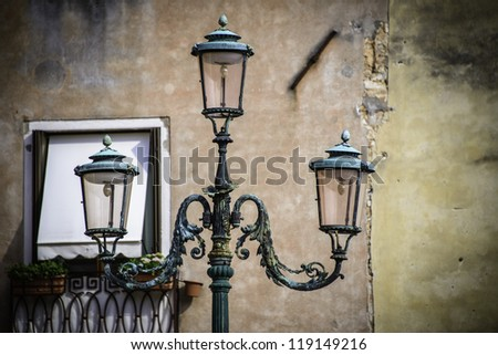 Street light detail, Venice, Italy - stock photo