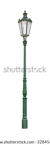 Street light green cutout isolated on white background