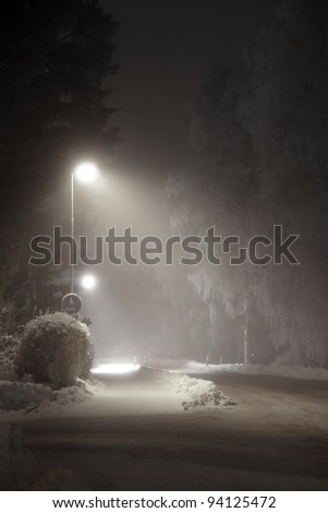 street light in suburban area at night - stock photo