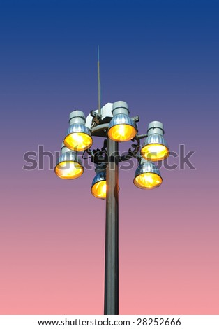 street light in the evening - stock photo