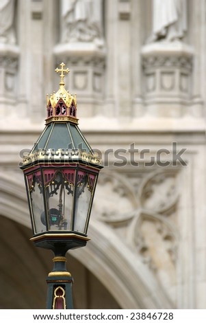Street light in Westminster Abbey - stock photo