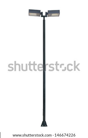 Street light pole isolated on white background - stock photo