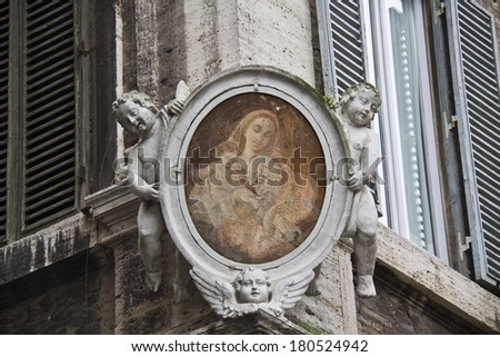 Street Madonna in Rome, Italy - stock photo