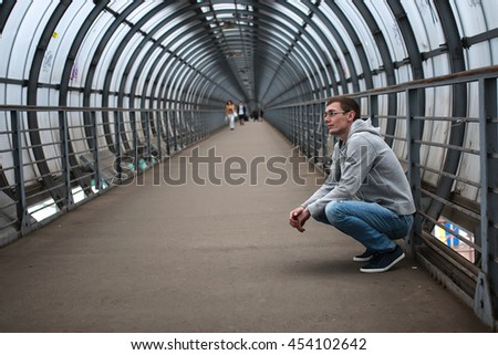street man hoody alone - stock photo