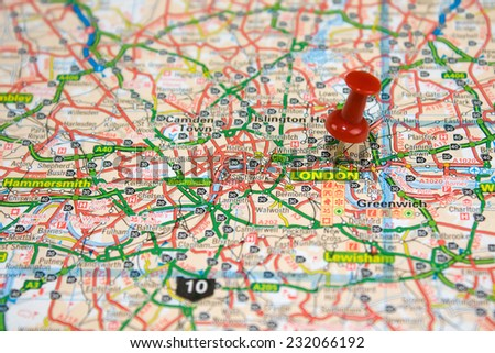 Street Map of London with red pin - stock photo