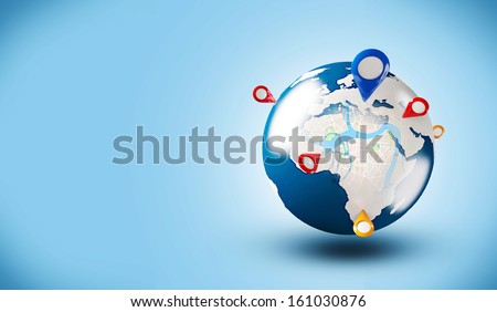 Street Map with GPS Icons. Global Navigation - stock photo