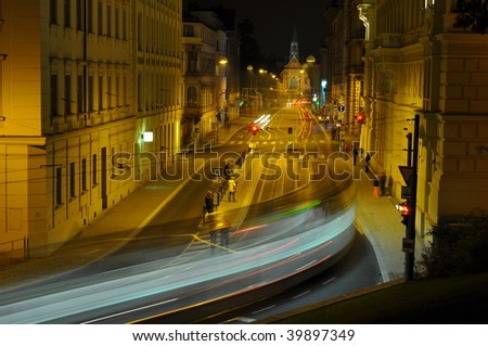 street of Brno at night - stock photo
