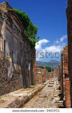 Street of famous ancient roman town Pompeii – Italy - stock photo