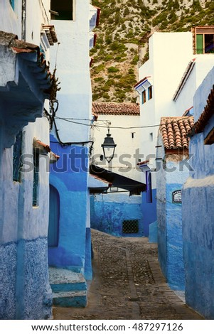 Street of famous blue city Chefchaouen in the morning, Morocco, Africa