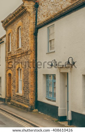 Street of Lyme Regis with vintage filter,  Dorset England UK Europe, Conceptual image of old English architecture