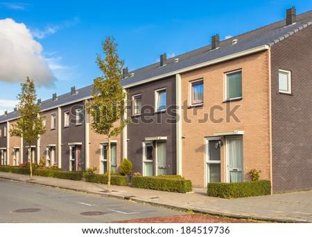 Street of Modern Family Houses in Europe - stock photo