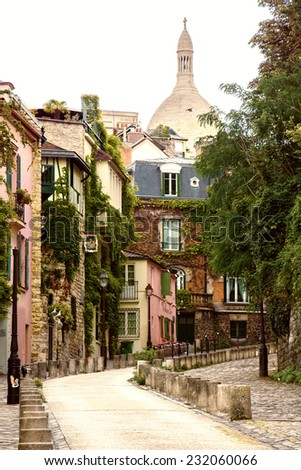 Street of Montmartre, Paris, France - stock photo