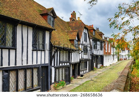 Street of quaint houses in Rye. - stock photo