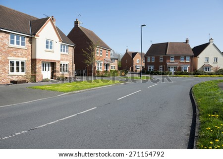 Street of suburban homes - stock photo