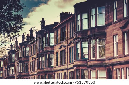 Street Tenement Apartments Glasgow Scotland Stock Photo ...