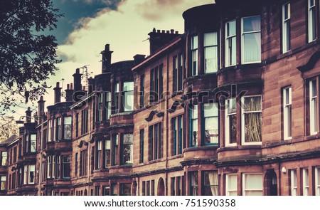 Street Tenement Apartments Glasgow Scotland Stock Photo ...