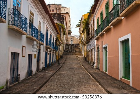 street of the historic center of the city of sao luis of maranhao in brazil - stock photo
