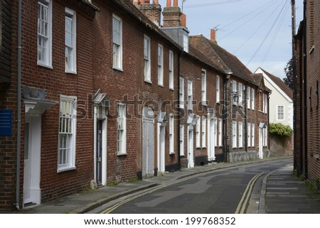 Street of TownHouses in Chichester. West Sussex. England - stock photo