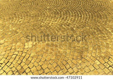 Street Paved with Gold - stock photo