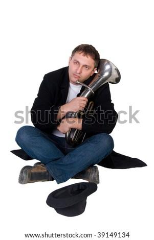 Street performer begging for money (isolated on white) - stock photo