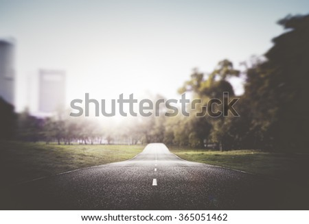Street Road Cityscape Nauture Sun Light Concept - stock photo