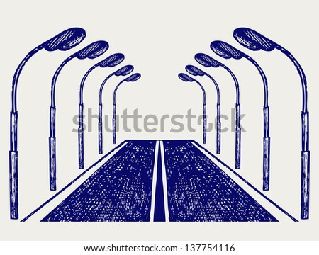 Street road. Doodle style. Raster version - stock photo