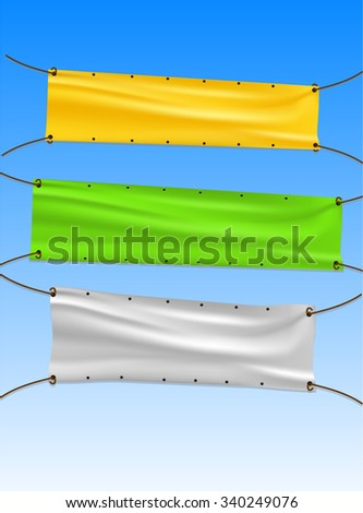 Street Rope Advertisement Banners - stock photo