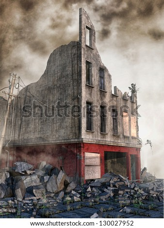 Street rubble in a ruined town - stock photo
