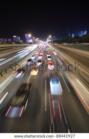 Street Scene at Night - stock photo
