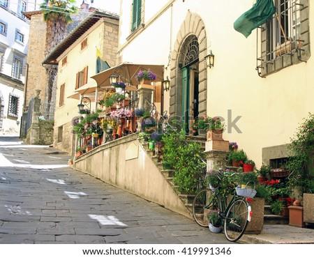Street scene in Cortona, Italy - stock photo